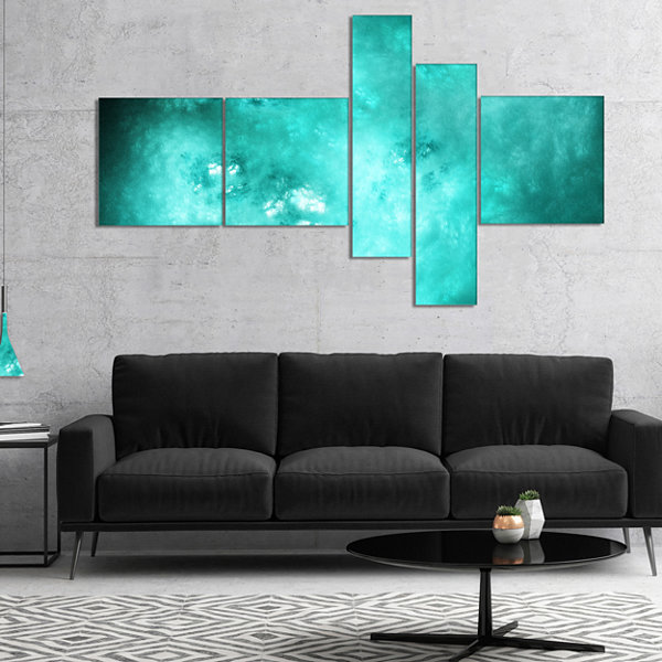 Designart Blur Blue Sky With Stars Multipanel Abstract Canvas Art Print - 5 Panels