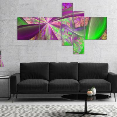 Designart Pink Green Fractal Curves Multipanel Abstract Canvas Art Print - 5 Panels