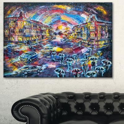 Designart Surreal City At Night Cityscape Large Canvas Artwork