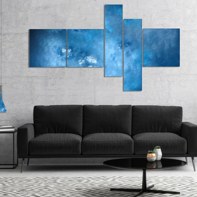 Designart Blur Clear Blue Sky With Stars Multipanel Abstract Canvas Art Print - 5 Panels
