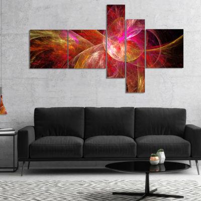 Designart Pink On Black Fractal Illustration Multipanel Abstract Canvas Art Print - 5 Panels