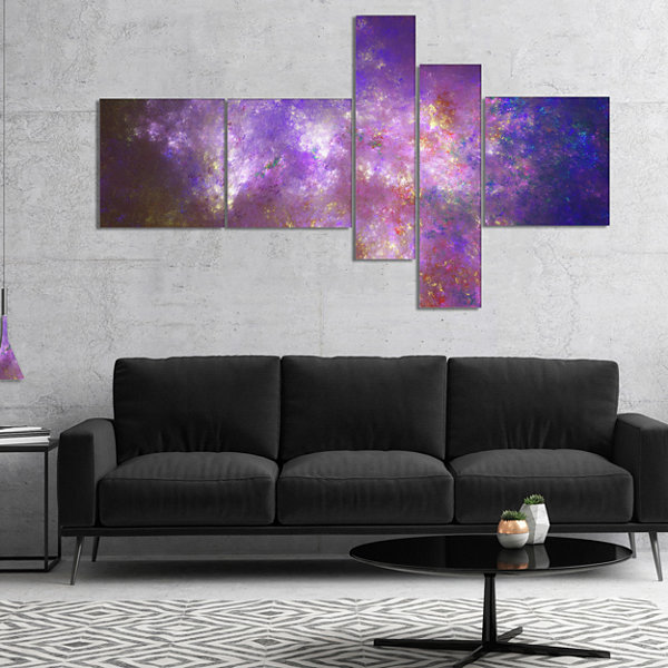 Designart Blur Fractal Sky With Stars MultipanelAbstract Canvas Art Print - 4 Panels