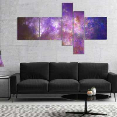 Designart Blur Fractal Sky With Stars MultipanelAbstract Canvas Art Print - 5 Panels