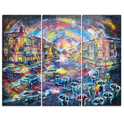 Designart Surreal City At Night Cityscape Large Canvas Artwork - 3 Panels