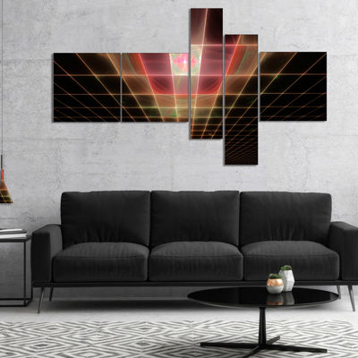 Designart Pink On Black Laser Protective Grids Multipanel Abstract Canvas Art Print - 5 Panels