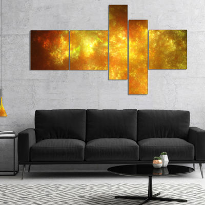 Designart Blur Golden Sky With Stars Multipanel Abstract Canvas Art Print - 4 Panels