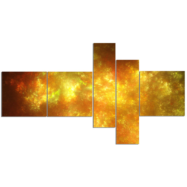 Designart Blur Golden Sky With Stars Multipanel Abstract Canvas Art Print - 5 Panels