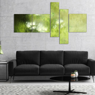 Designart Blur Green Sky With Stars Multipanel Abstract Canvas Art Print - 5 Panels