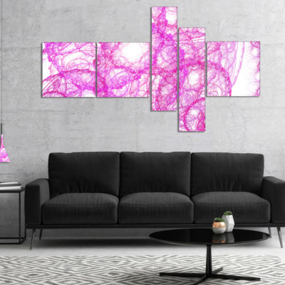 Designart Pink Pattern On White Background Multipanel Abstract Canvas Art Print - 5 Panels