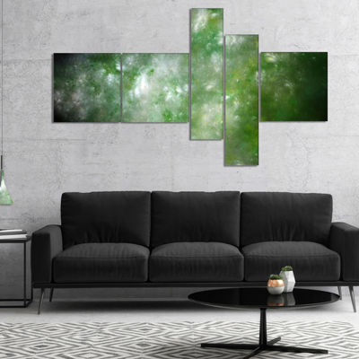 Designart Blur Green Starry Fractal Sky MultipanelAbstract Canvas Art Print - 4 Panels