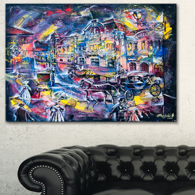 Designart Surreal City In Graphics Abstract CanvasArt Print - 3 Panels