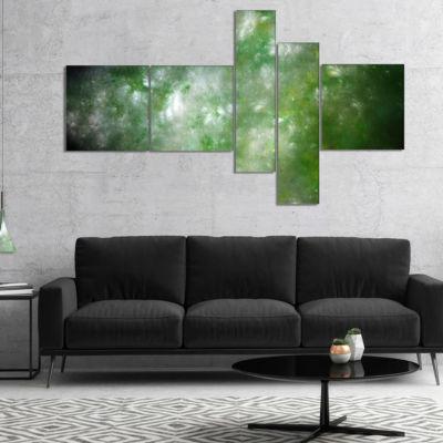 Designart Blur Green Starry Fractal Sky MultipanelAbstract Canvas Art Print - 5 Panels