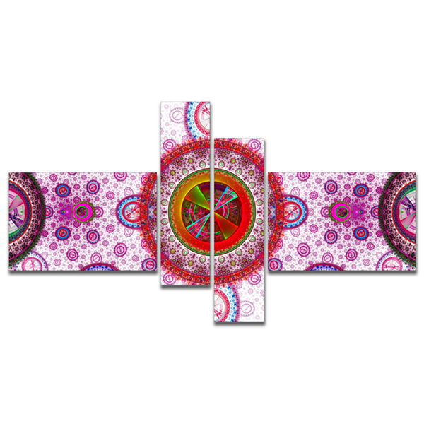 Designart Pink Psychedelic Relaxing Art MultipanelAbstract Canvas Art Print - 4 Panels