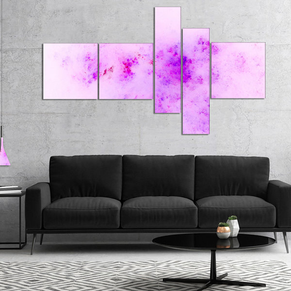 Designart Blur Light Pink Sky With Stars Multipanel Abstract Canvas Art Print - 5 Panels