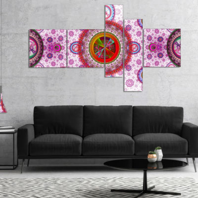 Designart Pink Psychedelic Relaxing Art MultipanelAbstract Canvas Art Print - 5 Panels