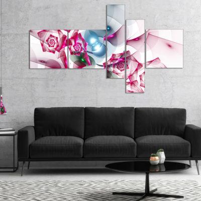 Designart Pink Roses Fractal Design Multipanel Abstract Canvas Art Print - 4 Panels