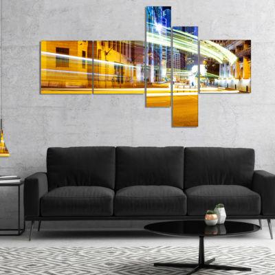 Designart Blur Motion Traffic Trail In Modern CityMultipanel Extra Large Canvas Art Print - 5 Panels