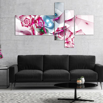 Designart Pink Roses Fractal Design Multipanel Abstract Canvas Art Print - 5 Panels