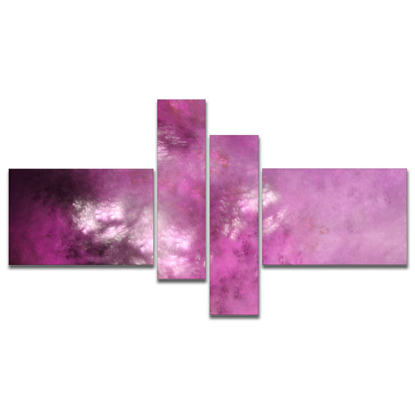 Designart Blur Pink Sky With Stars Multipanel Abstract Canvas Art Print - 4 Panels