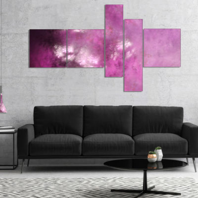 Designart Blur Pink Sky With Stars Multipanel Abstract Canvas Art Print - 5 Panels