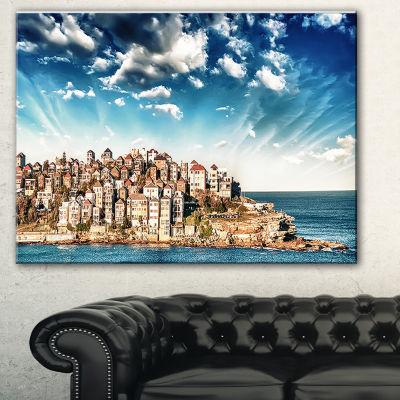 Designart Sydney Bondi Beach Panorama Landscape Art Print Canvas - 3 Panels