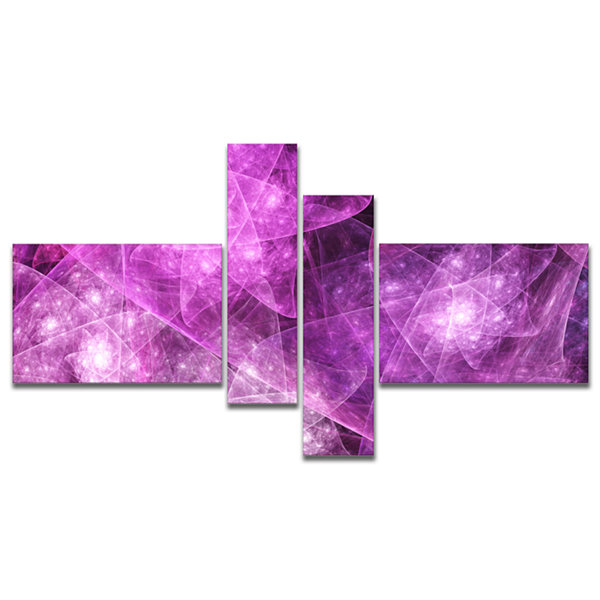 Designart Pink Rotating Polyhedron Multipanel Abstract Canvas Art Print - 4 Panels