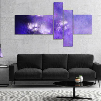 Designart Blur Purple Sky With Stars Multipanel Abstract Canvas Art Print - 5 Panels