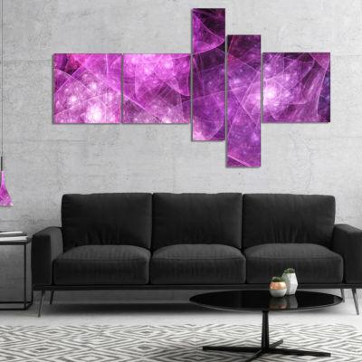 Designart Pink Rotating Polyhedron Multipanel Abstract Canvas Art Print - 5 Panels