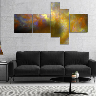 Designart Blur Yellow Sky With Stars Multipanel Abstract Canvas Art Print - 4 Panels