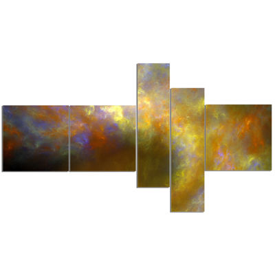 Designart Blur Yellow Sky With Stars Multipanel Abstract Canvas Art Print - 5 Panels