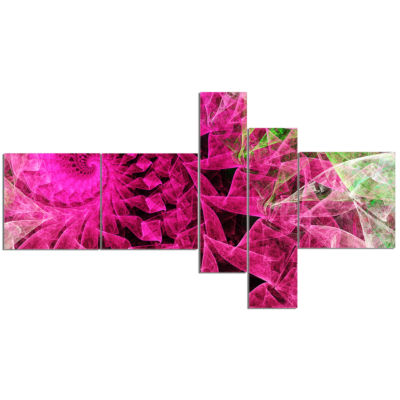 Design Art Pink Spiral Kaleidoscope Multipanel Abstract Wall Art Canvas - 5 Panels