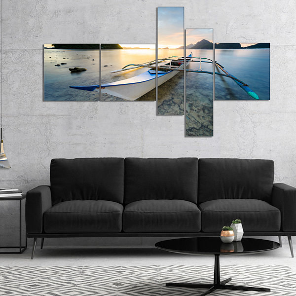 Designart Boat Docked At Beautiful Sunset Multipanel Seashore Canvas Art Print - 5 Panels