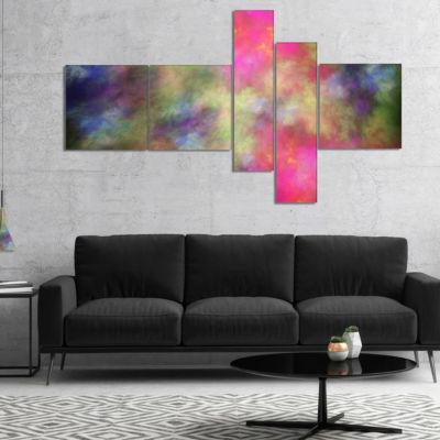 Designart Pink Starry Fractal Sky Multipanel Abstract Canvas Art Print - 5 Panels