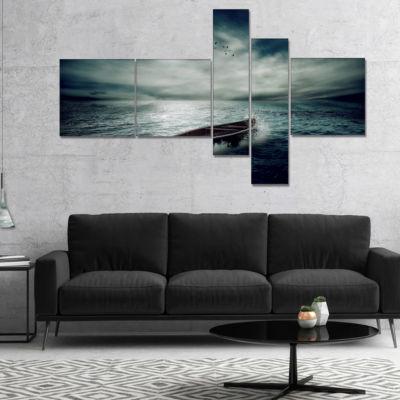 Designart Boat Drifting Away After Storm Multipanel Seashore Canvas Art Print - 5 Panels