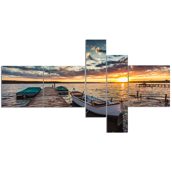 Designart Boats And Jetty Under Dramatic Sky Multipanel Modern Canvas Art Print - 5 Panels