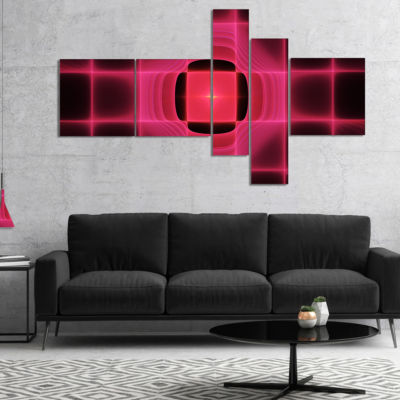 Designart Pink Thermal Infrared Visor MultipanelAbstract Canvas Art Print - 5 Panels