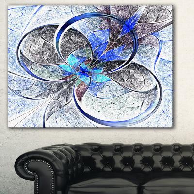 Designart Symmetrical Blue Fractal Flower AbstractPrint On Canvas - 3 Panels