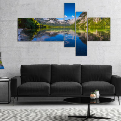 Designart Bohinj Lake In Triglav National Park Multipanel Landscape Canvas Art Print - 5 Panels