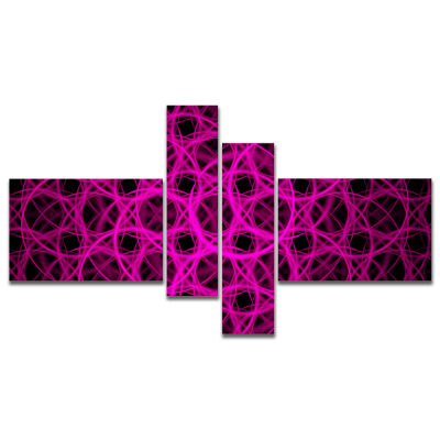 Designart Pink Unusual Fractal Metal Grill Multipanel Abstract Canvas Wall Art - 4 Panels