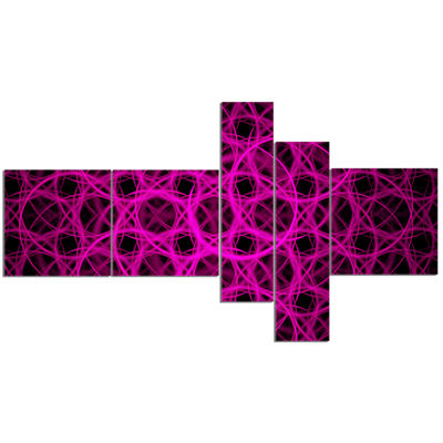 Designart Pink Unusual Fractal Metal Grill Multipanel Abstract Canvas Wall Art - 5 Panels