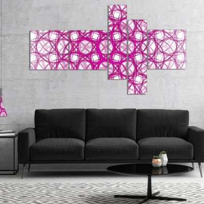 Designart Pink Unusual Metal Grill Multipanel Abstract Canvas Wall Art - 4 Panels