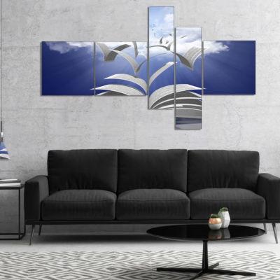 Designart Book Pages Skyward Multipanel AbstractCanvas Art Print - 5 Panels