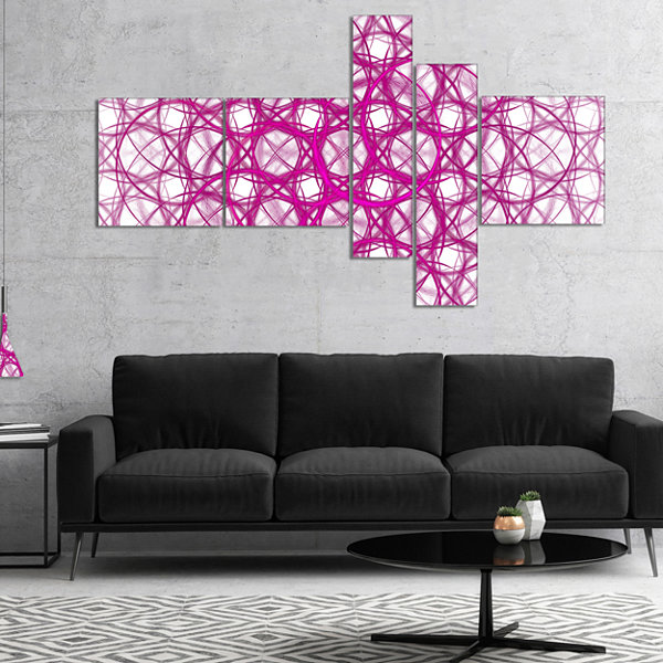 Designart Pink Unusual Metal Grill Multipanel Abstract Canvas Wall Art - 5 Panels