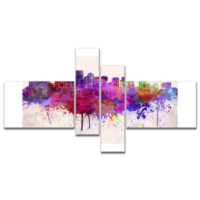 Designart Boston Skyline Multipanel Cityscape Canvas Artwork Print - 4 Panels