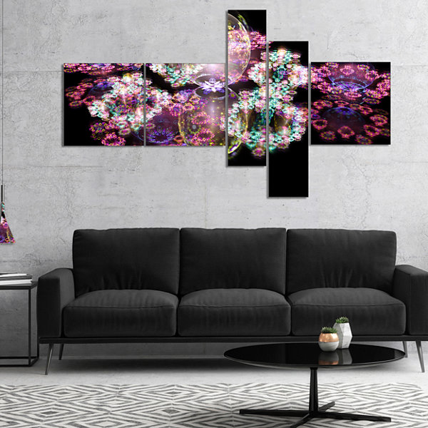 Designart Pink Water Drops On Mirror Multipanel Abstract Canvas Art Print - 4 Panels