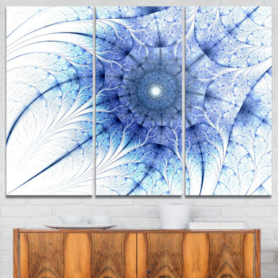 Designart Symmetrical Blue Fractal Flower On WhiteAbstract Canvas Print - 3 Panels