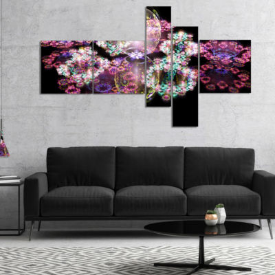 Designart Pink Water Drops On Mirror Multipanel Abstract Canvas Art Print - 5 Panels
