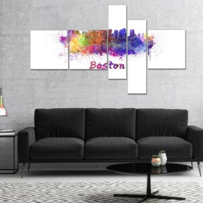 Designart Boston Skyline Multipanel Large Cityscape Canvas Artwork Print - 5 Panels