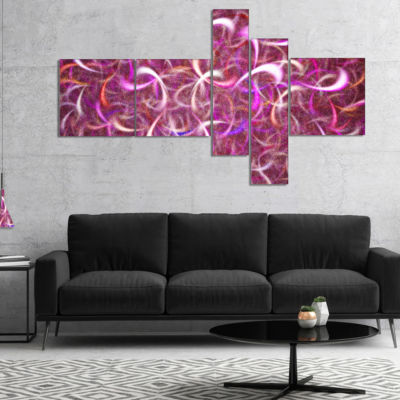 Designart Pink Watercolor Fractal Pattern Multipanel Abstract Art On Canvas - 5 Panels