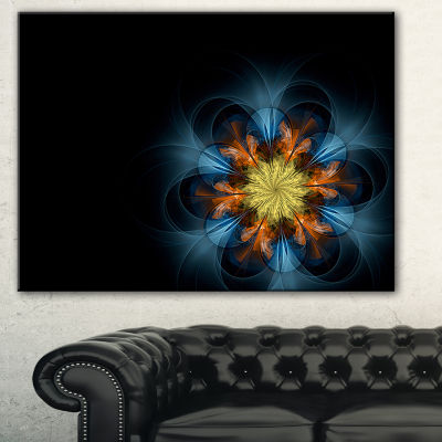 Designart Symmetrical Blue Orange Fractal FlowerAbstract Print On Canvas